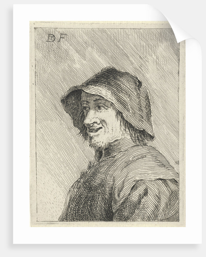 Farmer with hat on the head to the left by Anonymous