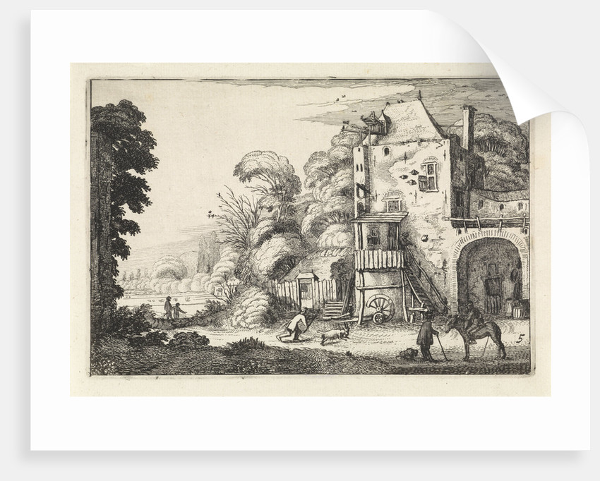 Inn in a landscape by Jan van de Velde II