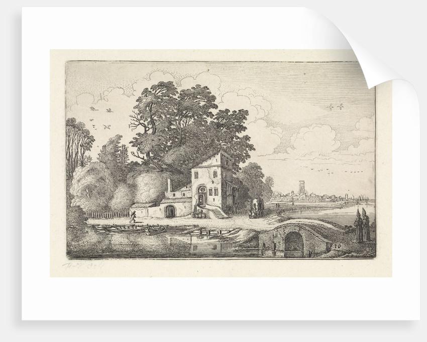 House by a stone bridge into a river landscape by Jan van de Velde II