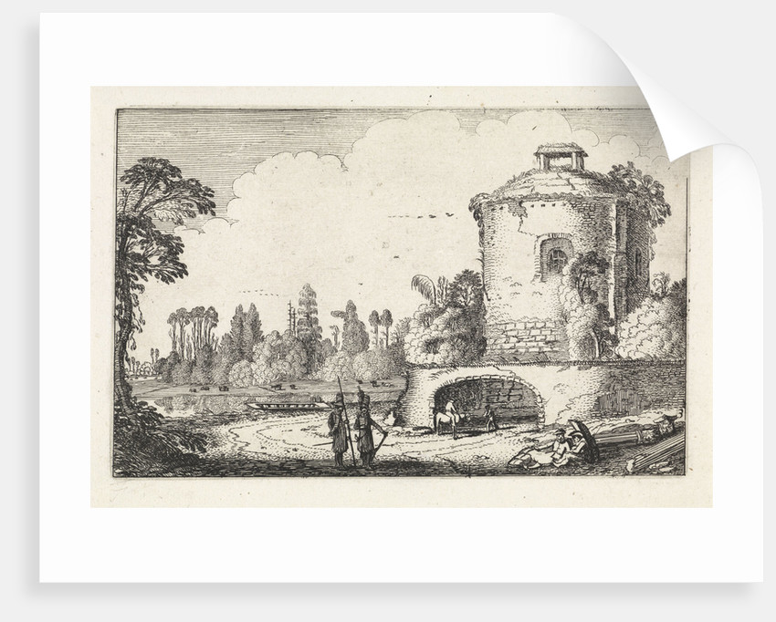 Landscape with a round tower by Jan van de Velde II