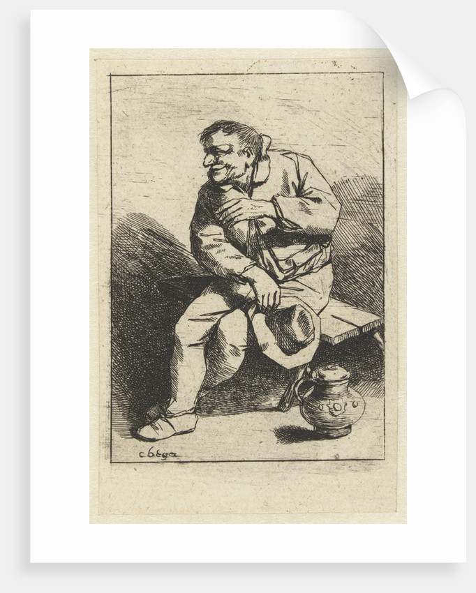 Seated man with hat in hand, jug on the floor by Cornelis Pietersz. Bega