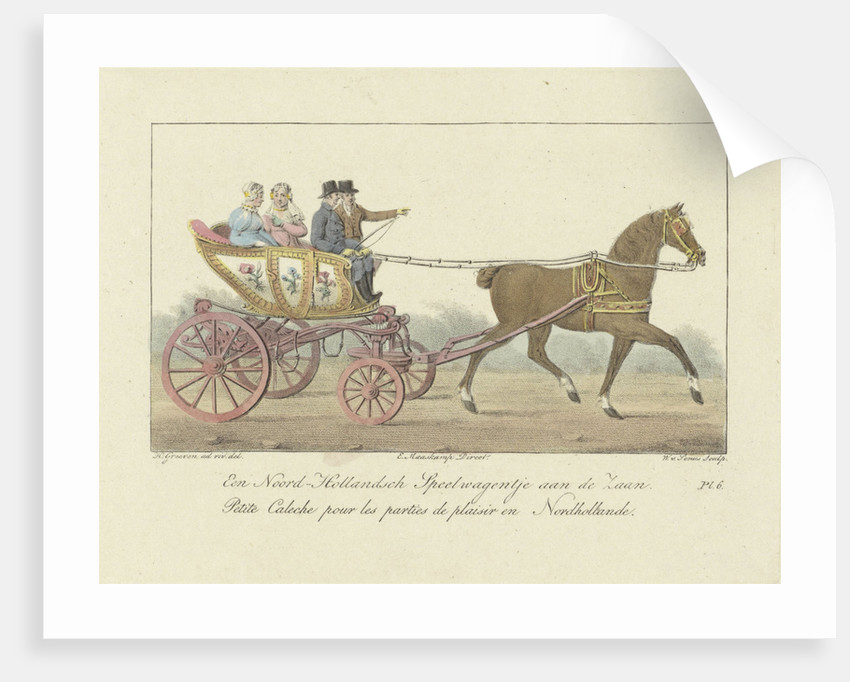 Two couples in a carriage by Evert Maaskamp