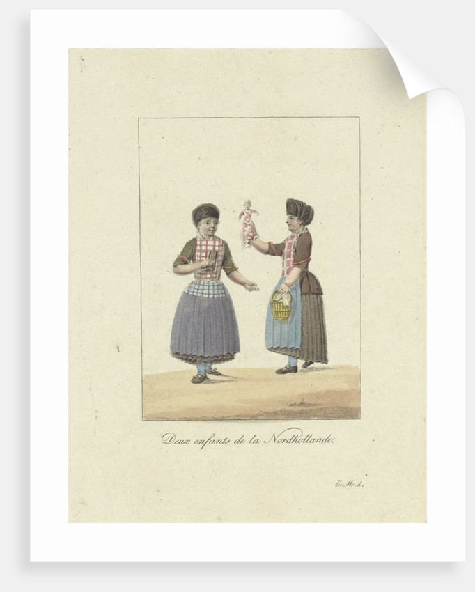 Two girls with a doll by Willem van Senus