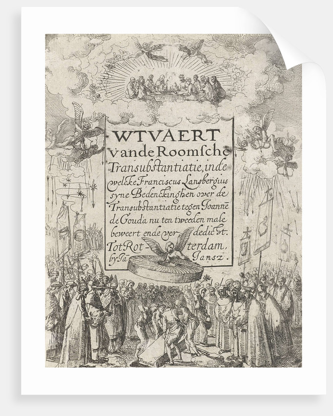 Title print for the pamphlet Wtvaert Vande Roman Catholic transubstantiation, 1612 by Jan Jansz