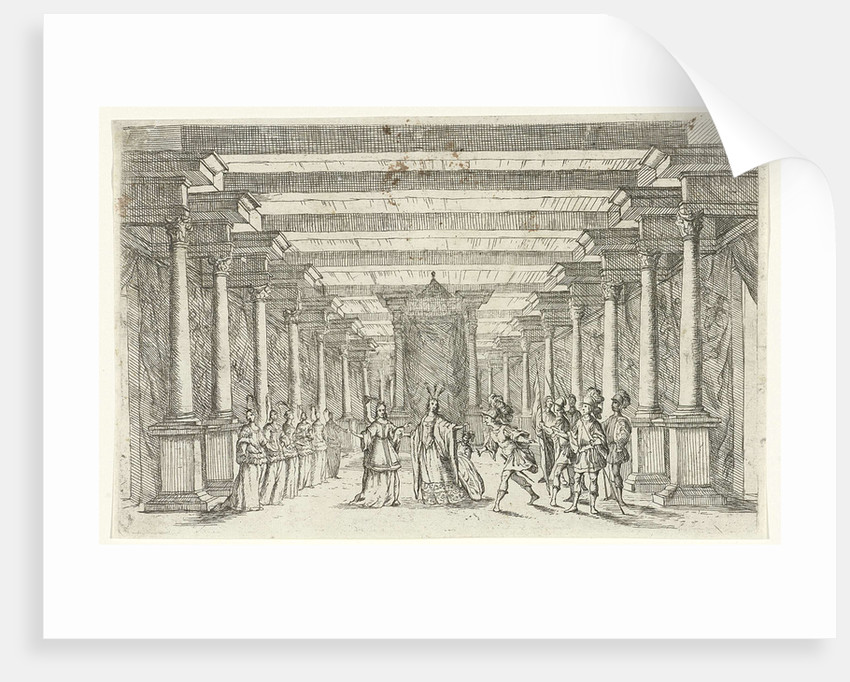 An army captain with feather in his hat and five soldiers in his entourage greet a princess in her palace by Jan van Ossenbeeck