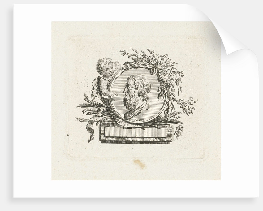Bust of Homer on medallion held by angel and decorated with flowers and palm branches by Willem Bilderdijk