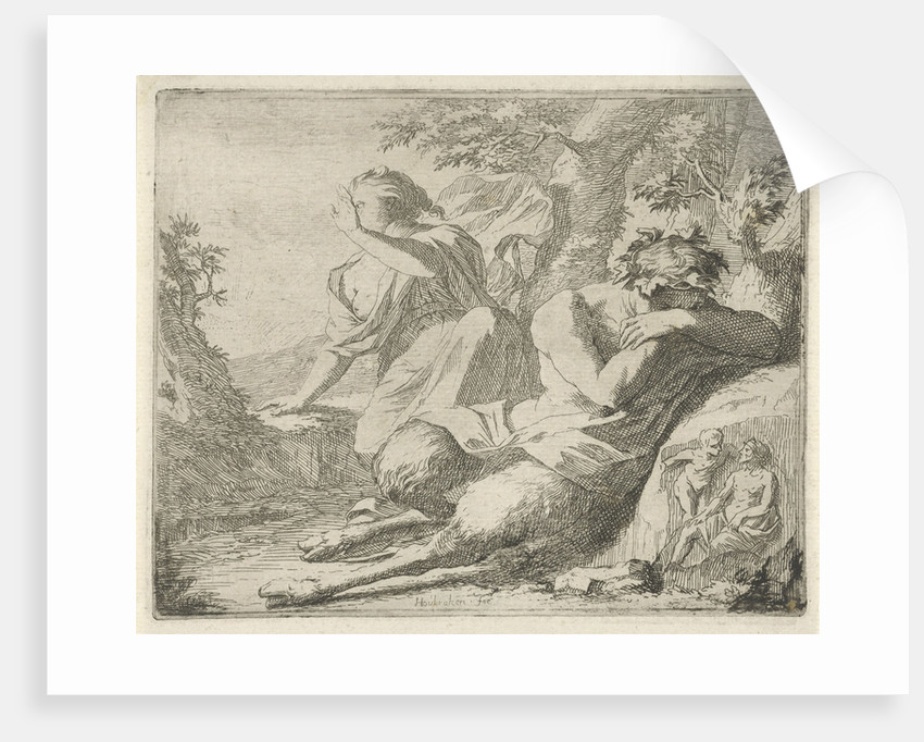 Sater and female figure cover the eyes from sunlight by Nicolaes de Vries