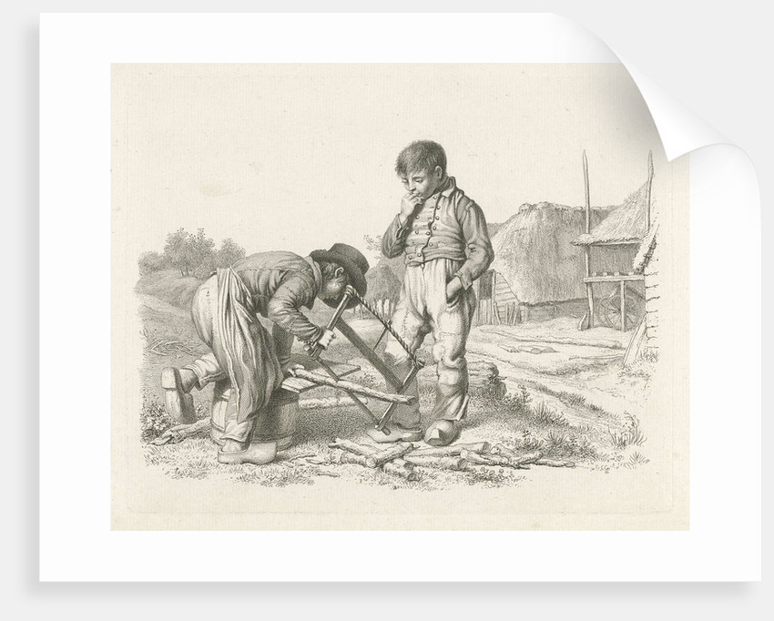 Sawing and a boy standing by Jacob Ernst Marcus