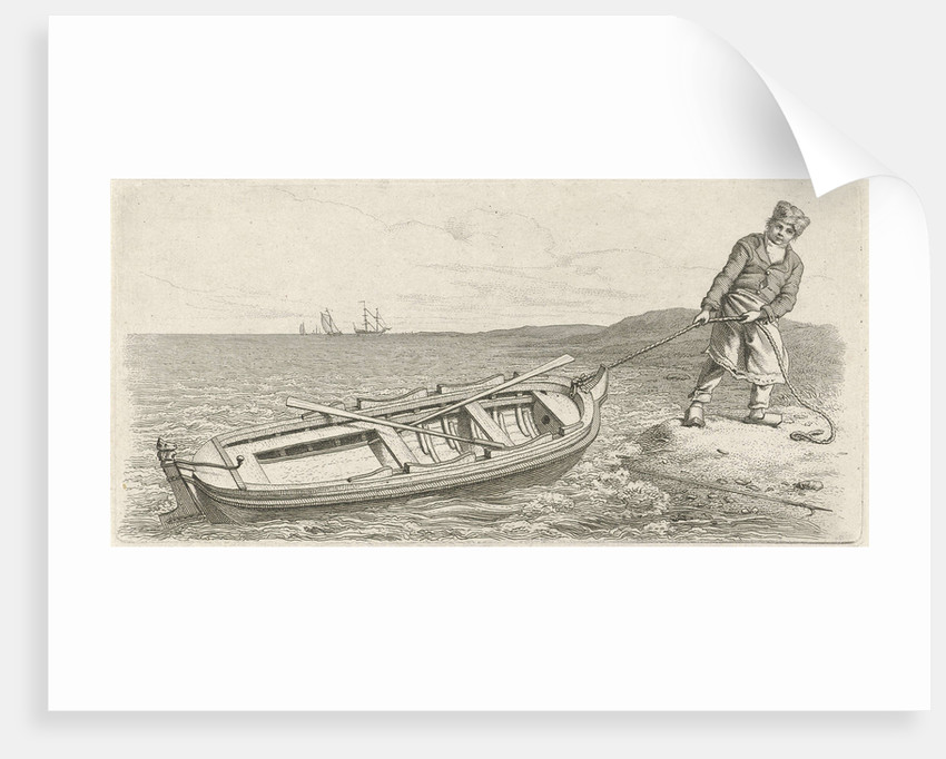 Man pulling his boat ashore by Jacob Ernst Marcus