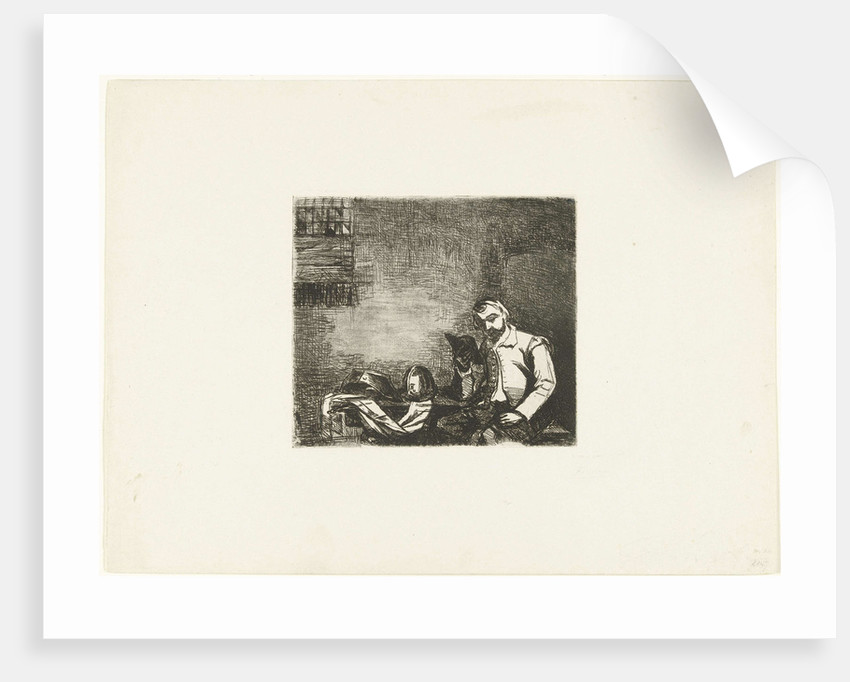Soldier sitting at table with armor and reads book by Jan Bikkers