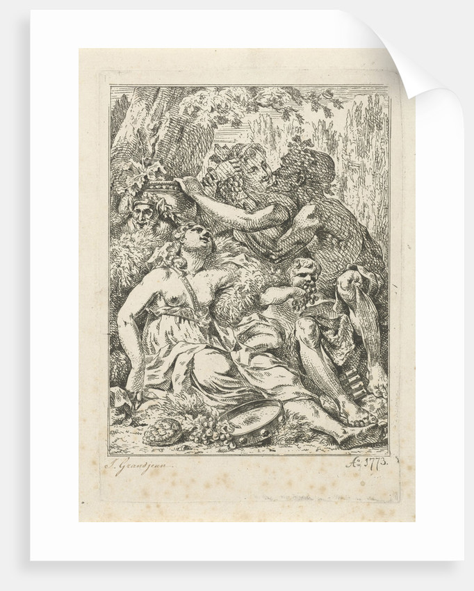 An orgy with bacchant and two half-naked young women with a putto in the middle by Jean Grandjean