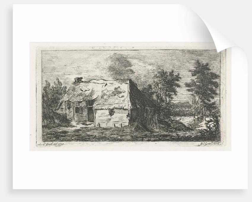 Dilapidated peasant cabin by Jacobus Cornelis Gaal