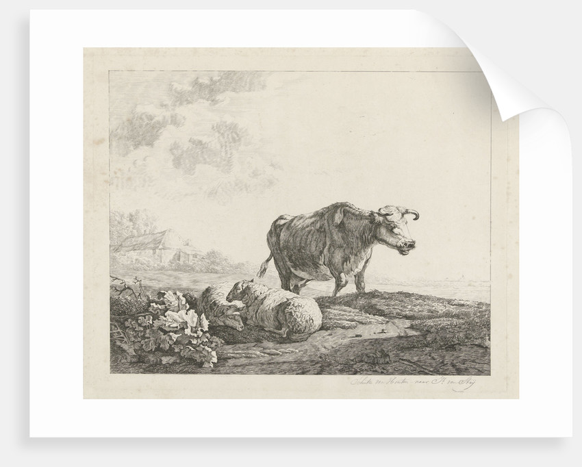 Landscape with a cow and two sheep by Jacob van Strij