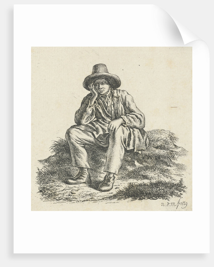 Seated man, his head support by Anthonie Willem Hendrik Nolthenius de Man