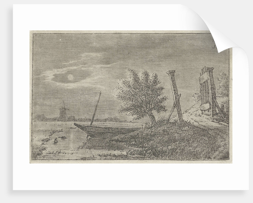 A polder landscape with an open gate at night, in the ditch a boat and on the horizon a mill by Anthonie Willem Hendrik Nolthenius de Man