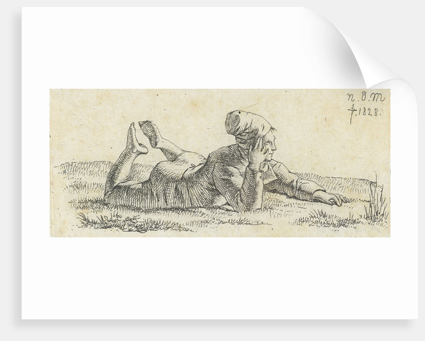Boy lying in the grass on his belly by Anthonie Willem Hendrik Nolthenius de Man