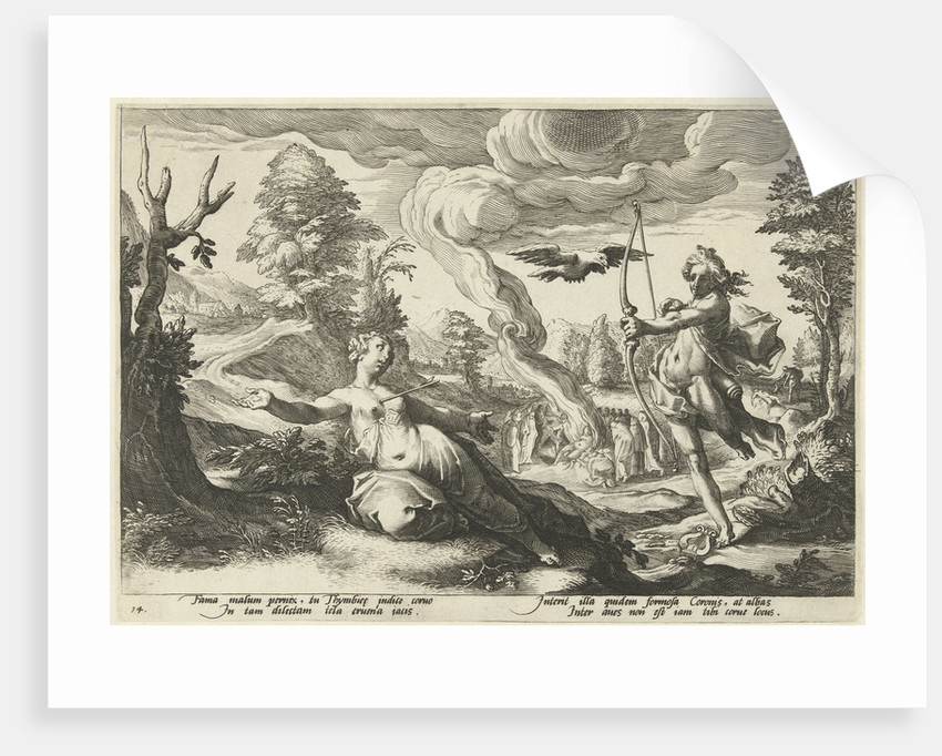 Apollo shoot the pregnant Coronis death by Workshop of Hendrick Goltzius