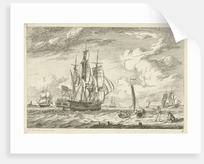 US and other three-masted ships by Gerrit Groenewegen