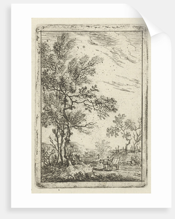 landscape with high tree party and horse and carriage by Hermanus Fock