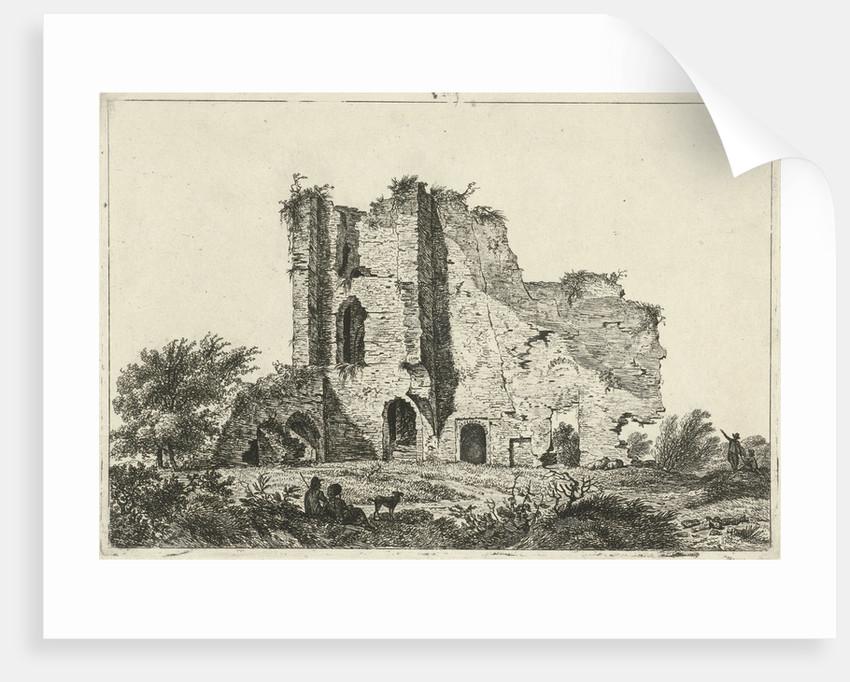 Shepherds with dog in ruin by Hermanus Fock