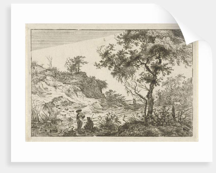 Dune landscape with a large tree by Hermanus Fock