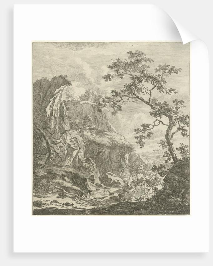 Mountainous landscape with cattle by Johannes Janson