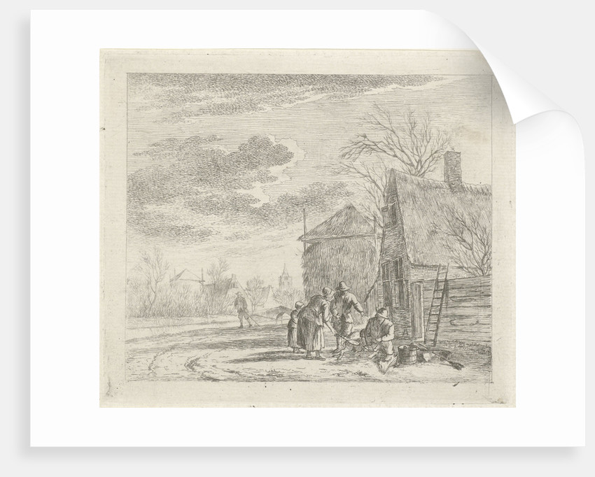Landscape with farmhouse and barn by Johannes Janson