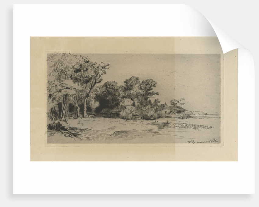 Landscape with farm by Anonymous