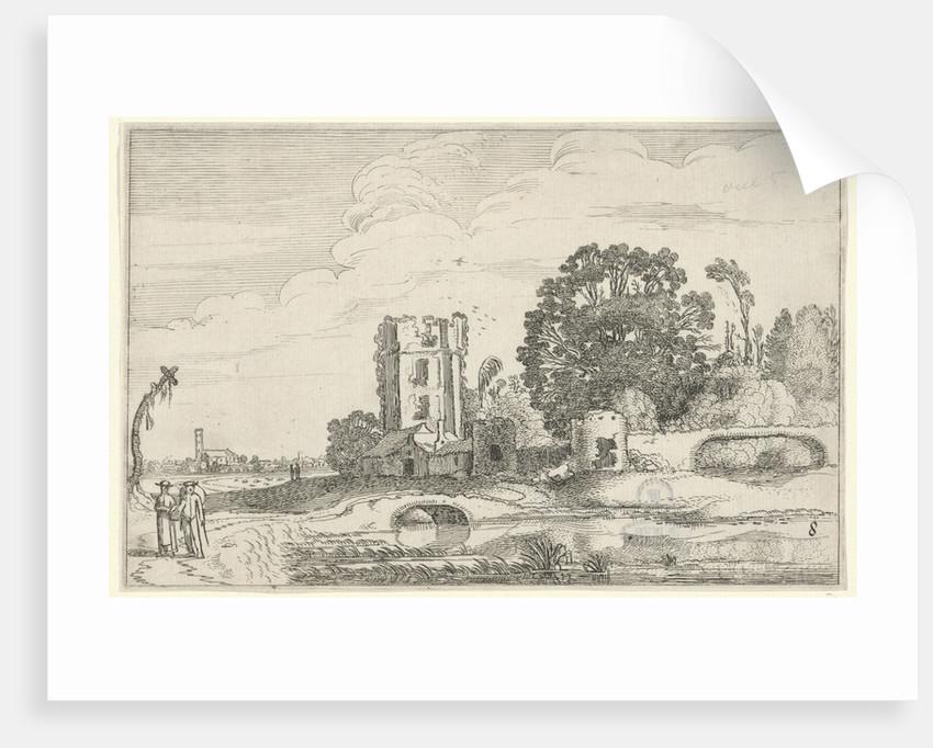Landscape with the tower of the Huis ter Kleef in Haarlem by Jan van de Velde II