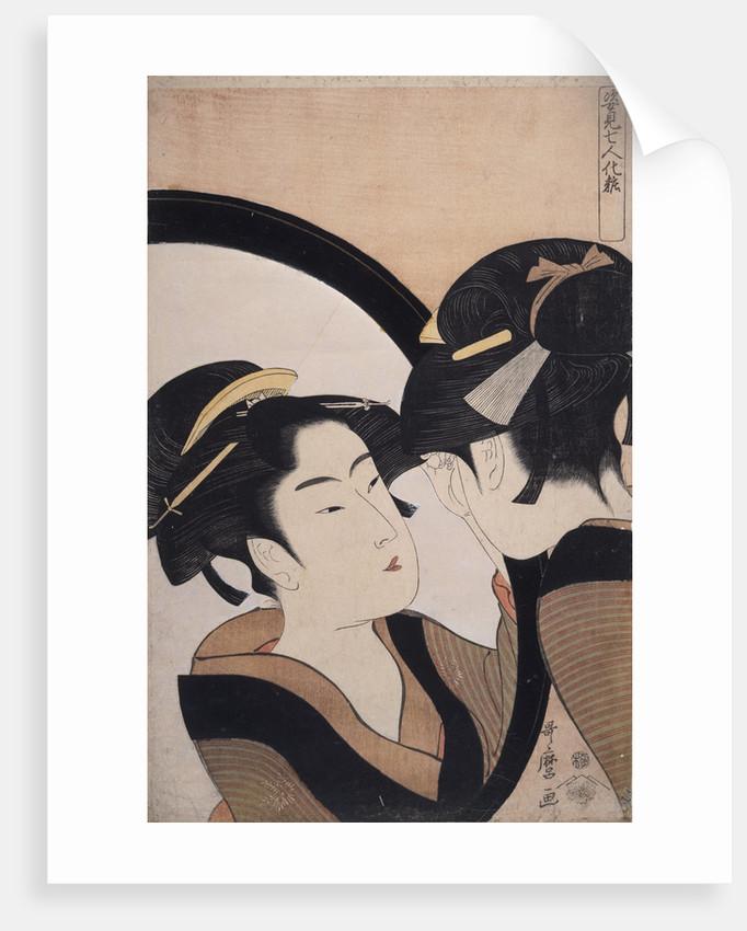 Sugatami shichinin keshô, Seven women applying make-up using a full-length mirror by Utamaro Kitagawa