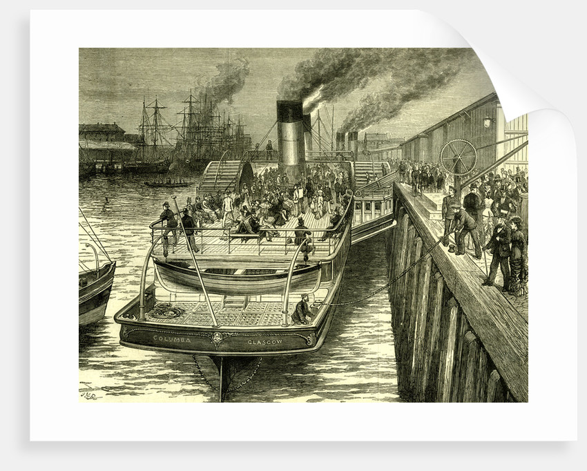 Glasgow Broomielaw UK 1880. Early Morning Departure of the Highland Steamer Columba by Anonymous