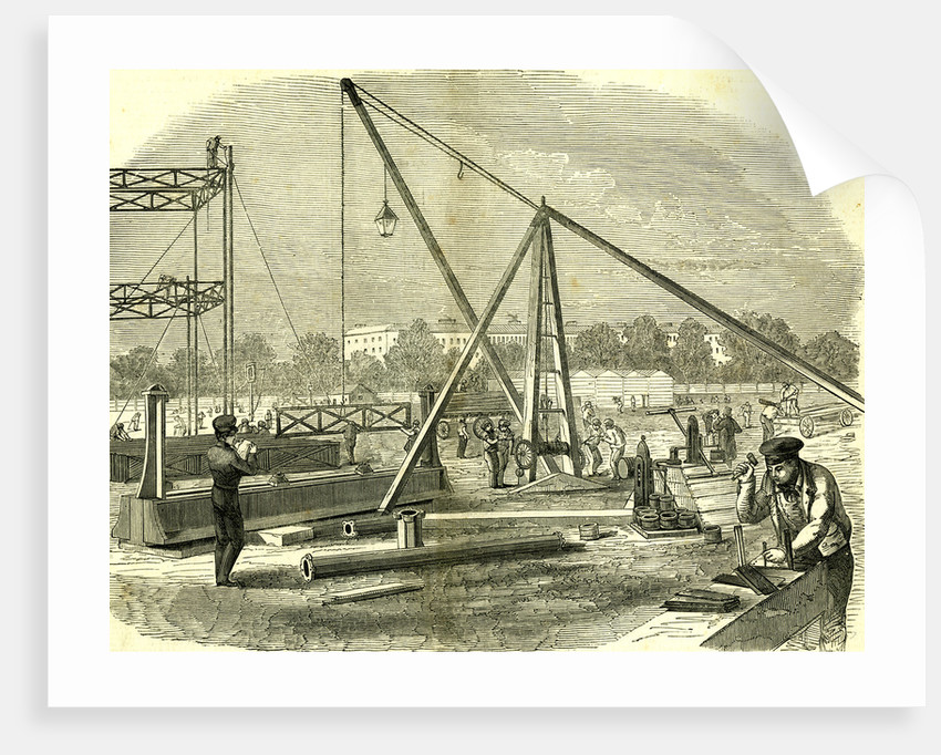 Hyde Park London 1850. The Great Exhibition Building. Unloading Girders by Anonymous