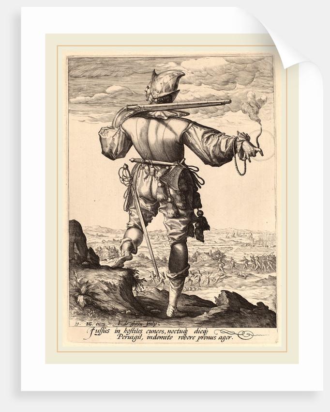 Helmeted Musketeer, 1587 by Jacques de Gheyn II