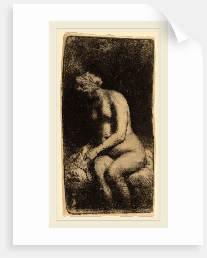 Nude Seated on a Bench with a Pillow, 1658 by Rembrandt van Rijn