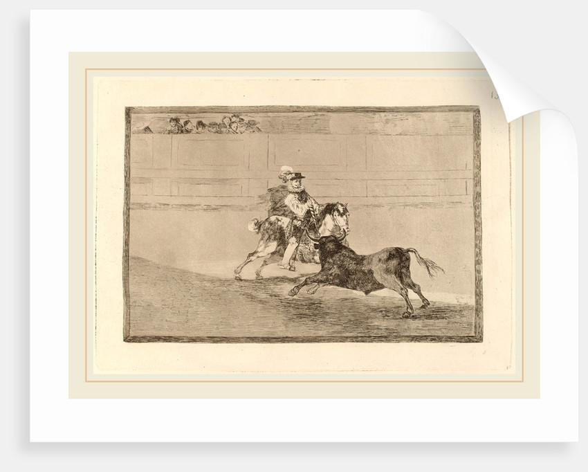 Un caballero espanol en plaza quebrando rejoncillos sin auxilio de los chulos by Francisco de Goya