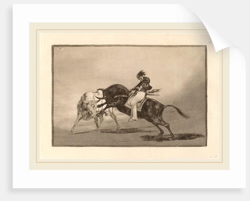 El mismo Ceballos montado sobre otro toro quiebra rejones en la plaza de Madrid by Francisco de Goya