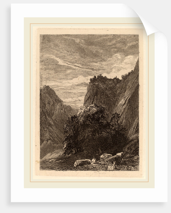 Trees at the Foot of a Cliff by Alexandre Calame