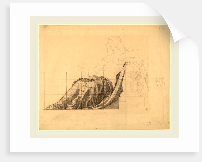 Drapery Study for Reclining Female Study for Painting by Kenyon Cox