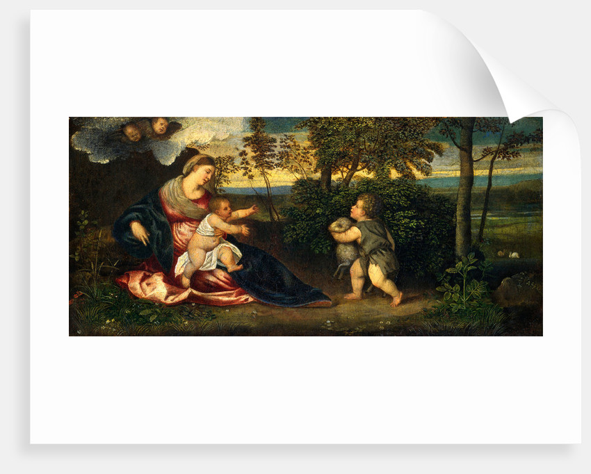 Madonna and Child and the Infant Saint John in a Landscape by Polidoro Lanzani