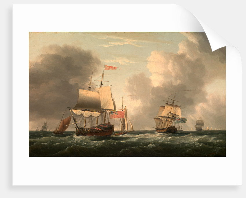 An English Two-Decker Lying Hove to, with Other Ships and Vessels in a Fresh Breeze by Dominic Serres