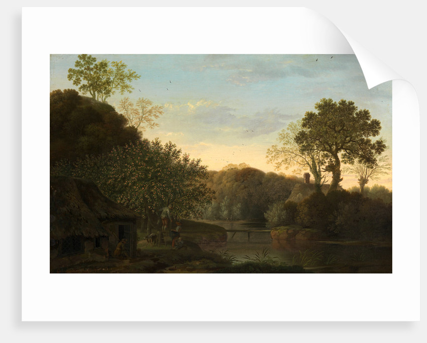 An Autumn Landscape with Apple Pickers by George Smith