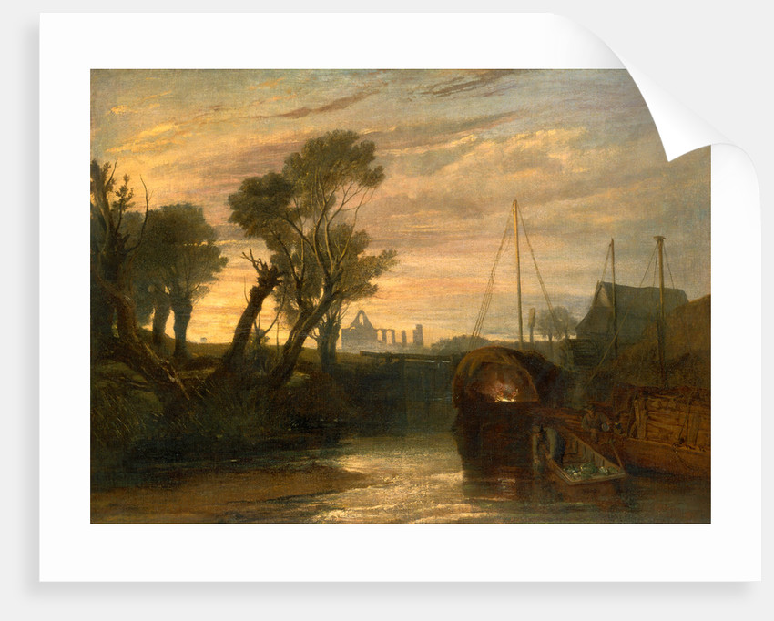 Newark Abbey Thames Lighter at Teddington Canal Scene with Barges The Lock--Glowing effect of Sunlight by Joseph Mallord William Turner