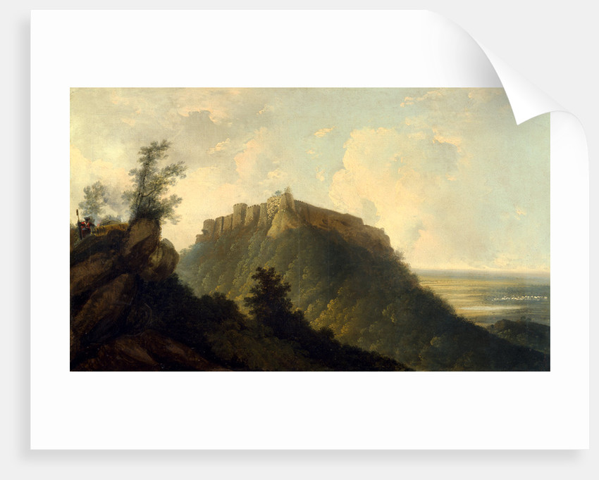 The Fort of Bidjegur An Indian Landscape with a Fort on a Hill by William Hodges