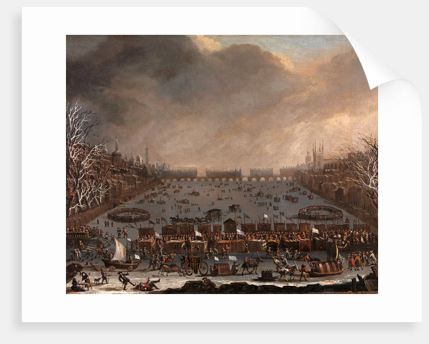 Frost Fair on the Thames, with Old London Bridge in the distance, London by Anonymous