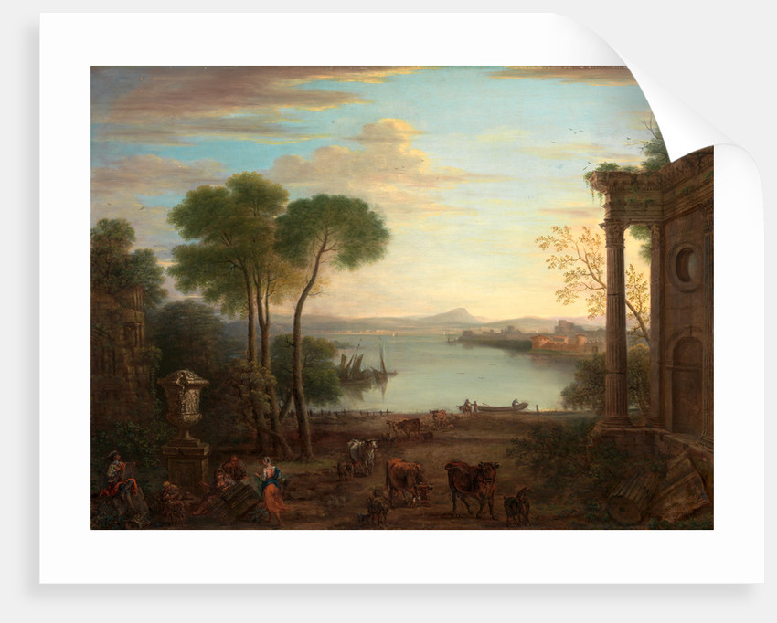 Classical Landscape Classical Landscape with Figures and Animals: Dawn by John Wootton