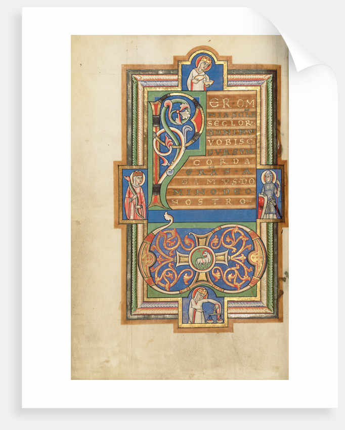 Decorated Text Page with a VD Monogram by Anonymous