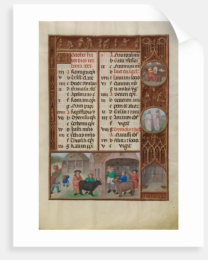Slaughtering of an Ox and Grape Harvesting, Zodiacal Sign of Libra by Workshop of the Master of James IV of Scotland