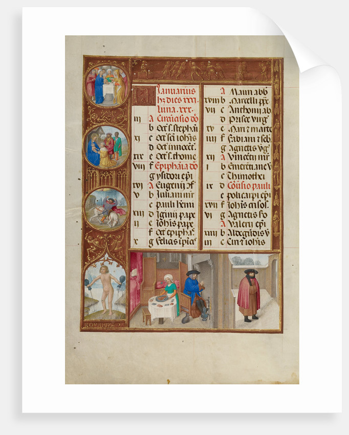 Feasting and Warming, Zodiacal Sign of Aquarius by Workshop of the Master of James IV of Scotland