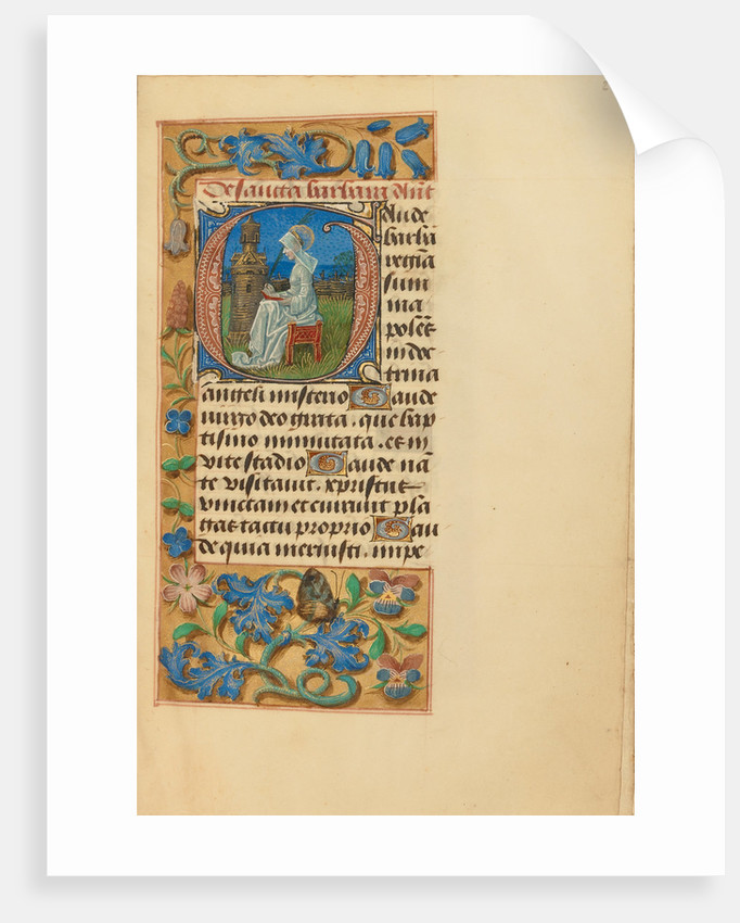 Initial G: Saint Barbara by Master of the Dresden Prayer Book