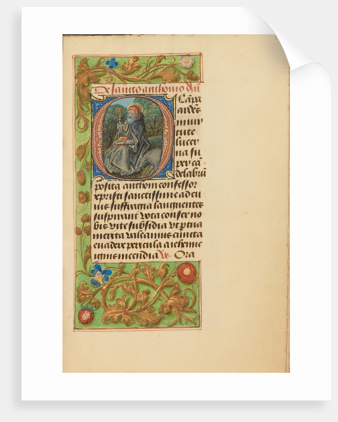 Initial O: Saint Anthony Abbot by Master of the Dresden Prayer Book